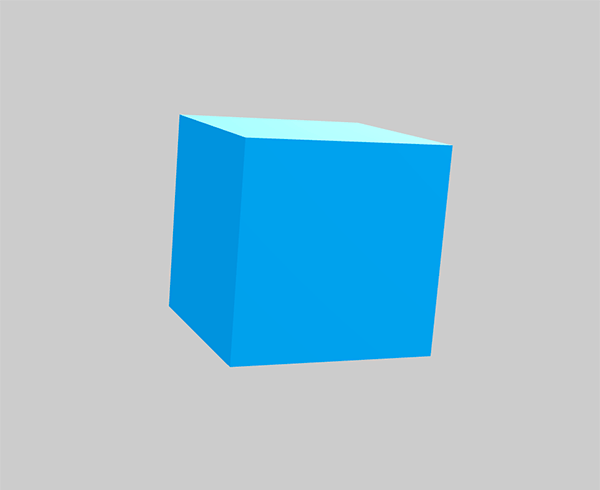 Blue Babylon.js 3D box on the gray background.